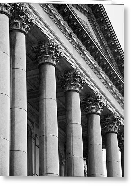 Illinois Capitol Columns B W Greeting Card