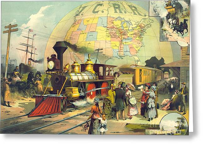 Illinois Central Railroad 1882 Greeting Card by Padre Art