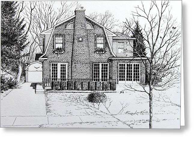 Illinois Home Portrait Drawing Greeting Card by Hanne Lore Koehler