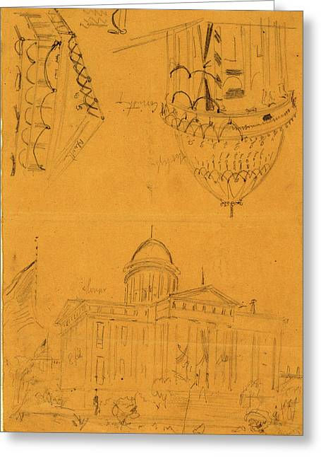 Illinois Statehouse, Springfield, Ill, With Details Showing Greeting Card by Quint Lox