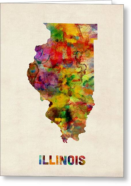 Illinois Watercolor Map Greeting Card by Michael Tompsett