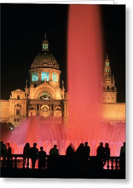 Illuminated Fountain Greeting Card by Ken Straiton