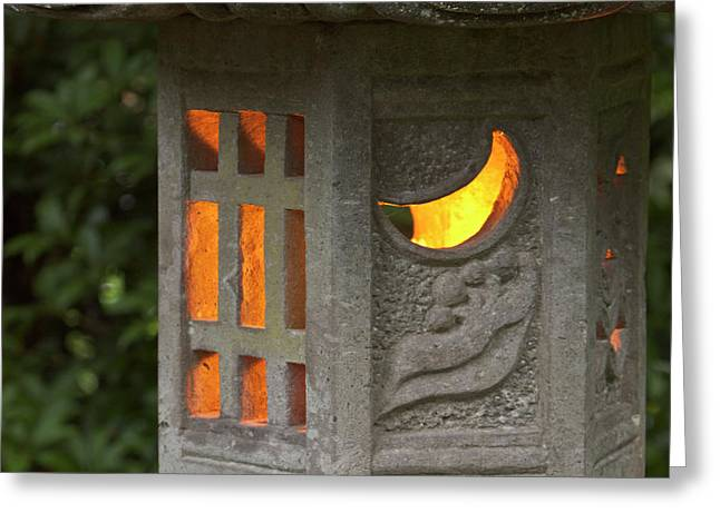 Illuminated Lantern In Portland Greeting Card by William Sutton