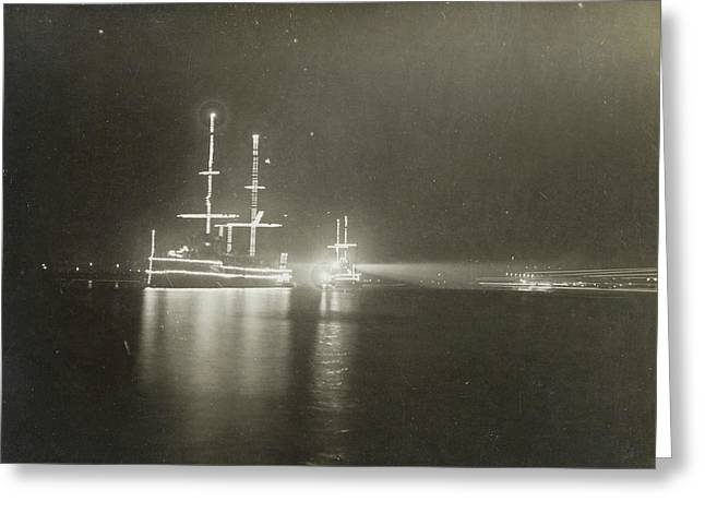 Illuminated Ship In Amsterdam, The Netherlands Greeting Card