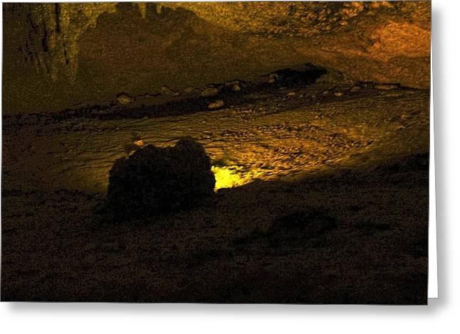 Illuminated Stalagmite Greeting Card by Sandra Pena de Ortiz