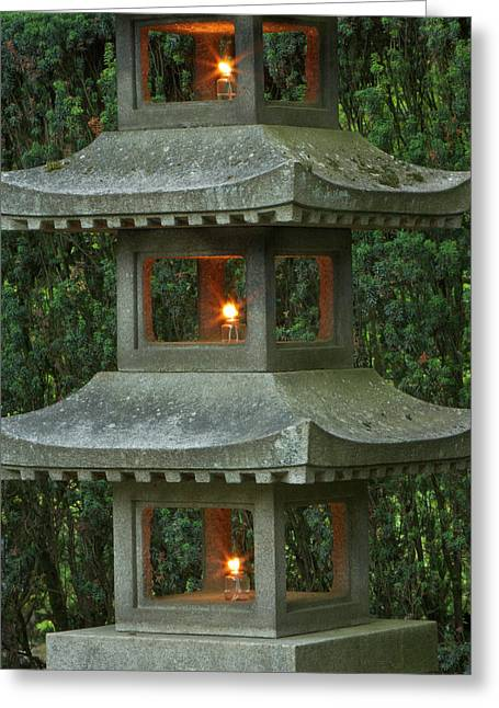 Illuminated Stone  Pagoda Lantern Greeting Card by William Sutton