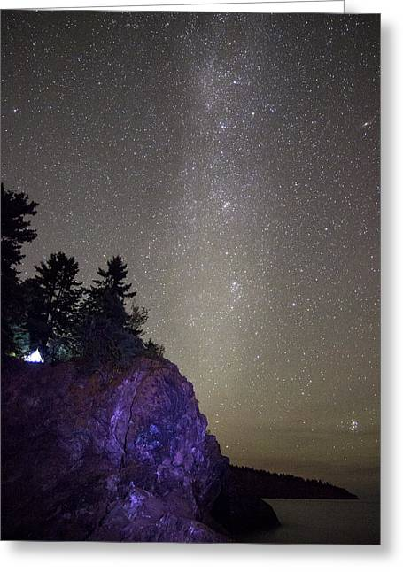 Illuminated Tent // North Shore, Lake Superior Greeting Card by Nicholas Parker