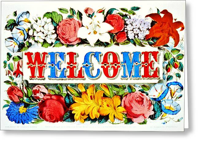 Illuminated Welcome Sign 1873 Greeting Card by Padre Art