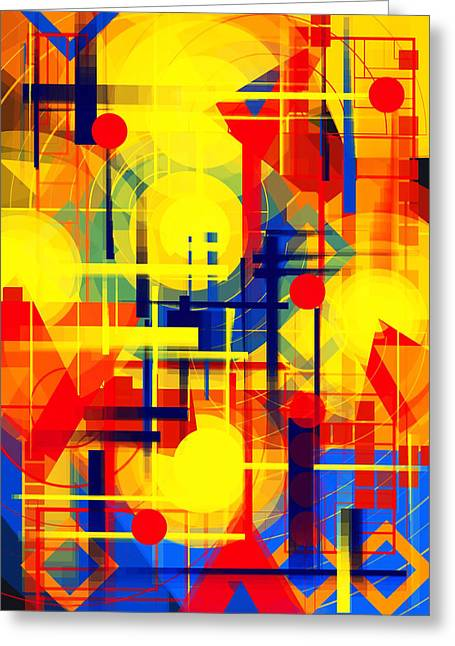 Illusion Of Night City Greeting Card by Mikko Tyllinen