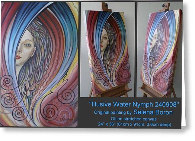 Greeting Card featuring the painting Illusive Water Nymph 240908 by Selena Boron