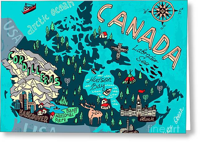 Illustrated Map Of Canada. Travel Greeting Card