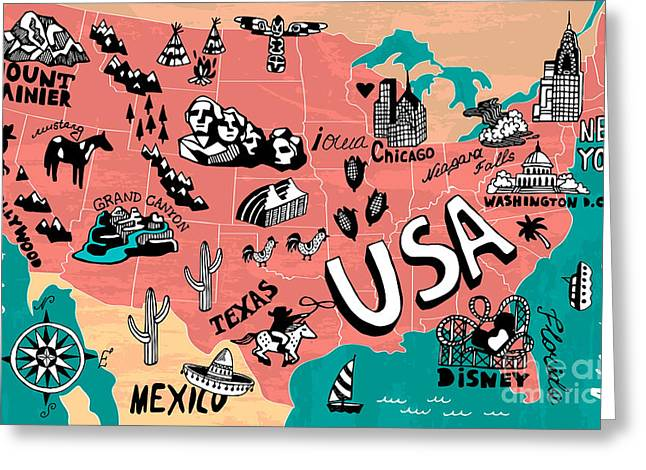 Illustrated Map Of Usa Greeting Card