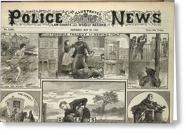 Illustrated Police News Front Page Greeting Card by British Library