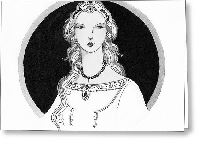 Illustrated Portrait Of A Woman Greeting Card by Claire Avery