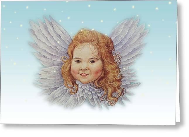 Illustrated Twinkling Angel Greeting Card