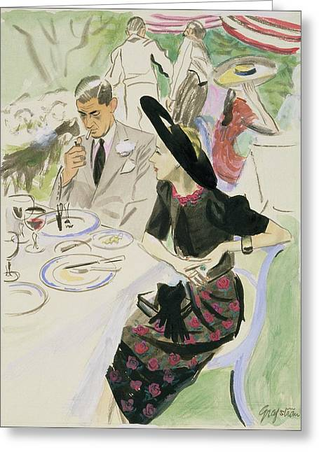 Illustration Of A Couple Dining Outdoors Greeting Card by R.S. Grafstrom