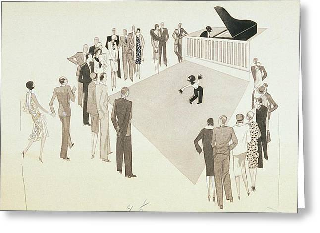 Illustration Of A Crowd Gathering To Watch Tap Greeting Card by William Bolin