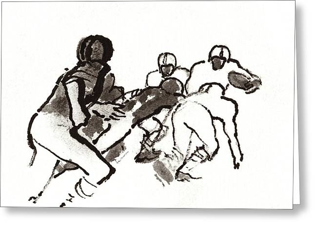 Illustration Of A Group Of Football Players Greeting Card by Carl Oscar August Erickson