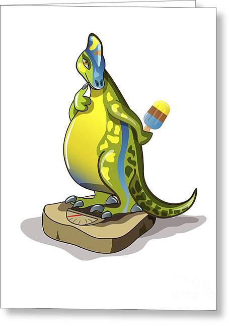 Illustration Of A Lambeosaurus Standing Greeting Card