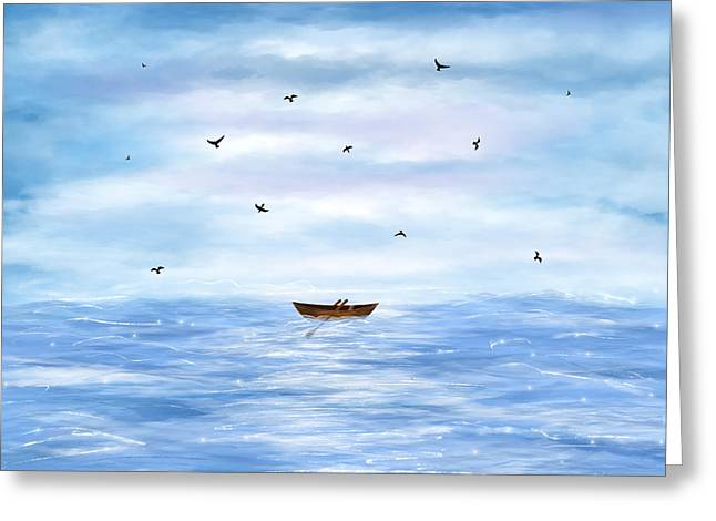 Illustration Of A Lonely Boat Greeting Card