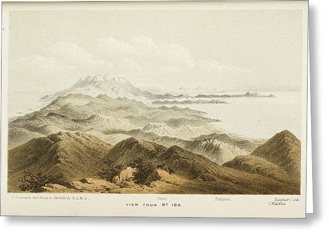 Illustration Of A Mountain Range In Crete Greeting Card