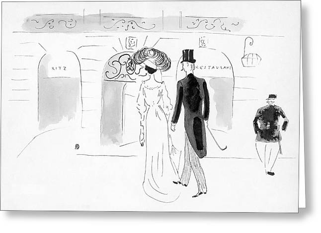 Illustration Of A Nineteenth Century Couple Greeting Card by  Oberle