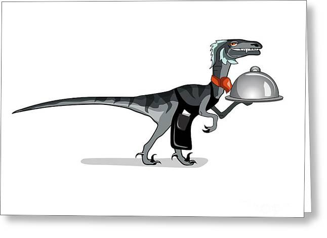 Illustration Of A Raptor Food Waiter Greeting Card