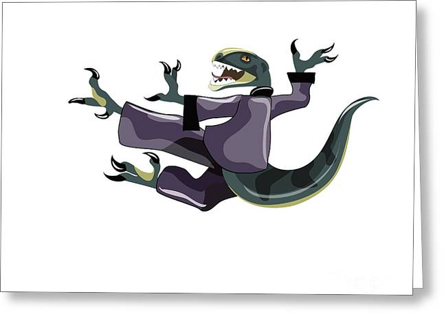 Illustration Of A Raptor Performing Greeting Card by Stocktrek Images