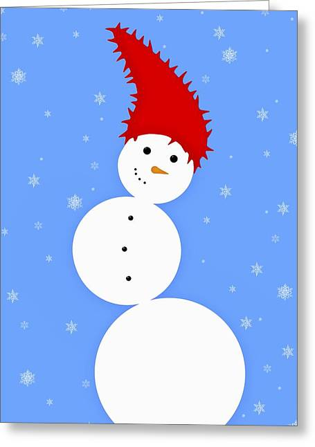 Illustration Of A Snowman Greeting Card by Chris Knorr