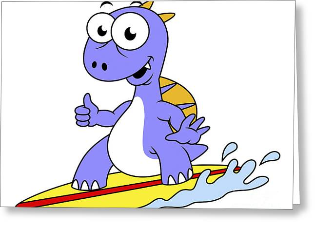Illustration Of A Surfing Spinosaurus Greeting Card by Stocktrek Images