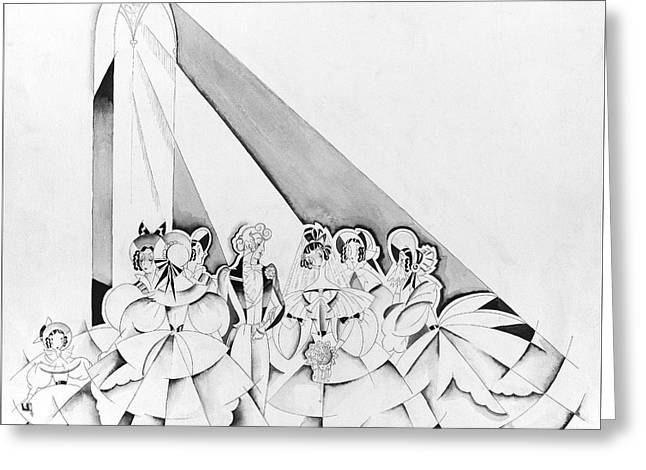 Illustration Of A Wedding Ceremony Greeting Card by John Barbour