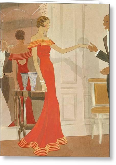 Illustration Of A Woman At A Debutante Ball Greeting Card by Eduardo Garcia Benito