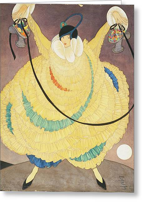 Illustration Of A Woman In A Large Yellow Gown Greeting Card by George Wolfe Plank