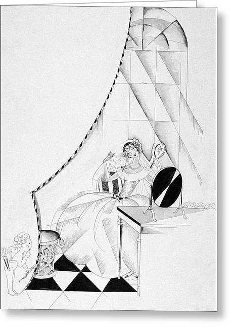 Illustration Of A Woman In A Wedding Dress Greeting Card by John Barbour