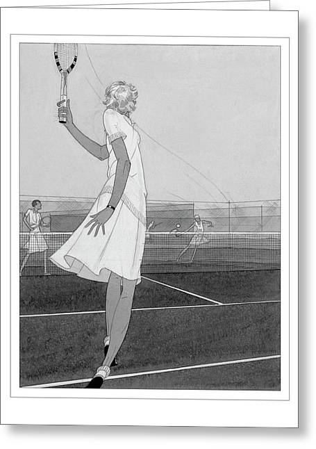 Illustration Of A Woman Playing Tennis Greeting Card by Jean Pag?s