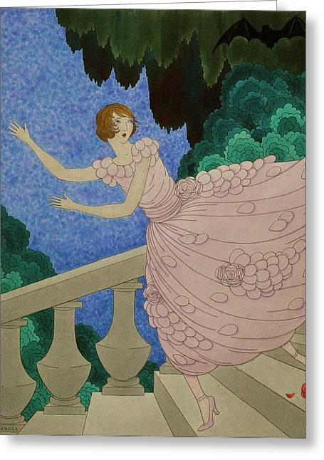 Illustration Of A Woman Running Down A Staircase Greeting Card by Harriet Meserole