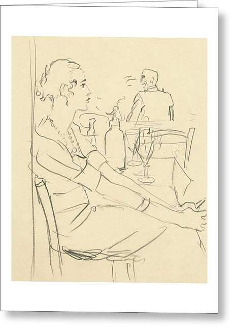 Illustration Of A Woman Sitting Down Greeting Card