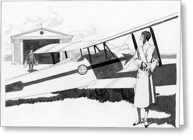 Illustration Of A Woman Standing Next To A Biplane Greeting Card by Pierre Mourgue