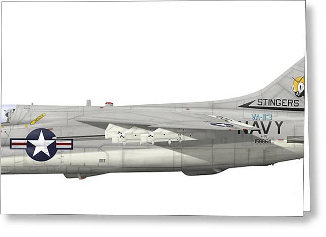 Illustration Of An A-7e Corsair II Greeting Card by Inkworm