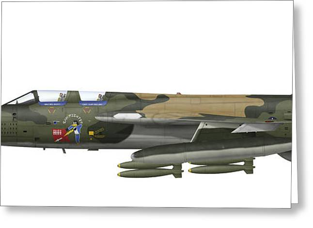 Illustration Of An F-105f Thunderchief Greeting Card by Inkworm