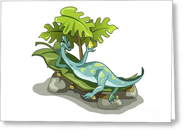 Illustration Of An Iguanodon Sunbathing Greeting Card by Stocktrek Images