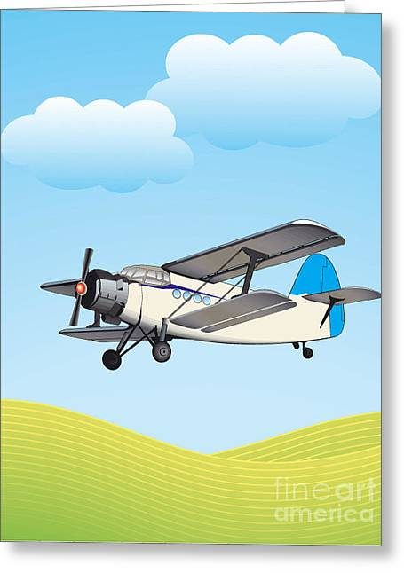 Illustration Of Biplane Flying Greeting Card