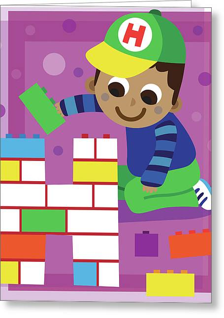 Illustration Of Boy Making Letter H With Blocks Greeting Card by Fanatic Studio / Science Photo Library