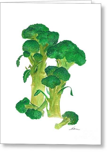 Illustration Of Broccoli Greeting Card by Nan Wright