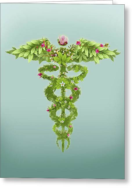 Illustration Of Caduceus Symbol Greeting Card by Fanatic Studio / Science Photo Library