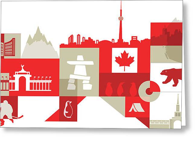 Illustration Of Canadian Lifestyle Over White Background Greeting Card