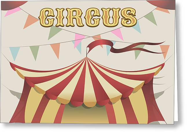 Illustration Of Carnival Tent Drawn In Greeting Card