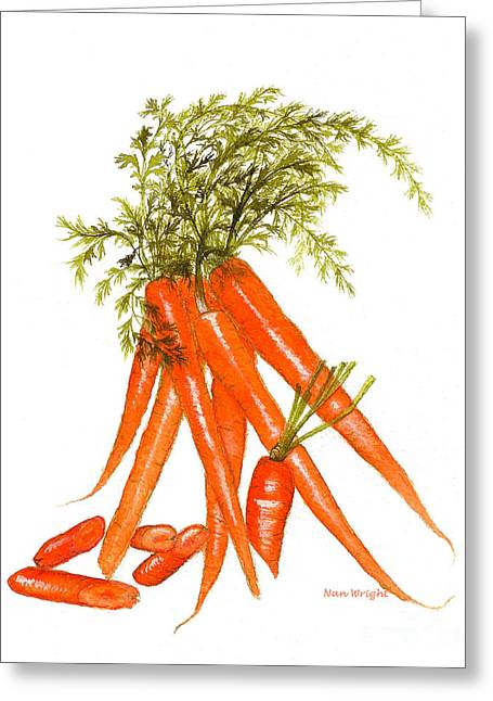 Illustration Of Carrots Greeting Card by Nan Wright