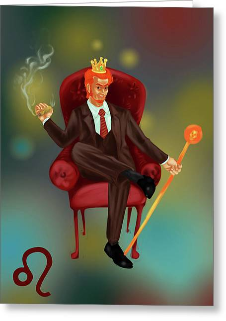 Illustration Of Characteristic Of A Leo Businessman Greeting Card by Fanatic Studio / Science Photo Library