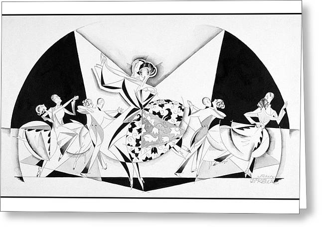 Illustration Of Couples Dancing Greeting Card by John Barbour